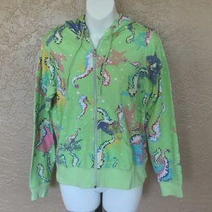 Sunbay Lime Seahorse Print Hoodie Jacket S